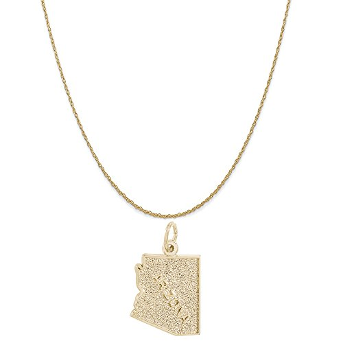 Rembrandt Charms 14K Yellow Gold Arizona Charm on a 14K Yellow Gold Rope Chain Necklace, 20