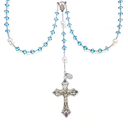 (Rana Jabero Birthstone Catholic Prayer Rosary Beads Made with Genuine Crystals from Swarovski and White Glass Pearls - Keepsake Birthday Christmas Communion Baptism Gift (Aquamarine - March))