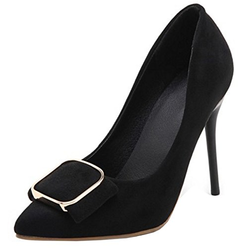 TAOFFEN Women Western Stiletto Slip On Pointed Toe High Heel Court Shoes Black vvigD
