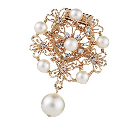 SM SunniMix Imitation Pearl Rhinestone Flower Bridal Wedding Bouquet Brooch Pin Women ()