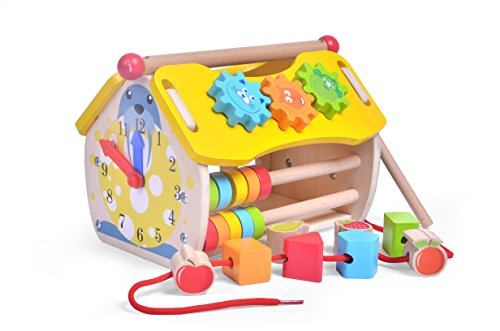 (Educational Toys House Shape Sorter with Lacing Beads, Xylophone Mallets, Wood Sorting Blocks and Rolling Beads for Toddlers 1,2,3,4 Years)