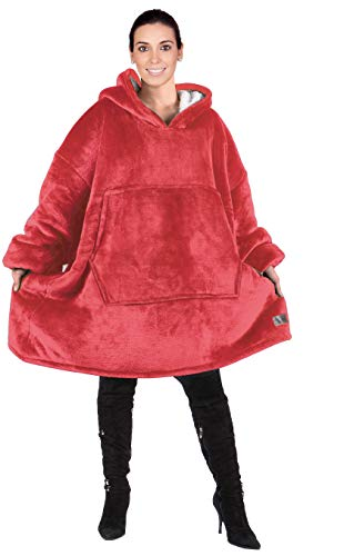 Catalonia Oversized Hoodie Blanket Sweatshirt,Super Soft Warm Comfortable Sherpa Giant Pullover with Large Front Pocket,for Adults Men Women Teenagers Kids,Red (Best Women's Hoodies 2019)