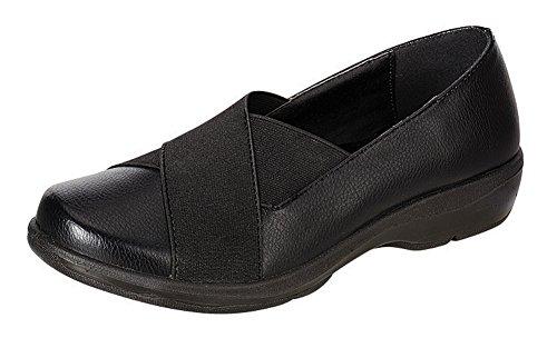 Vernieuwen Damesschoenen Cross Over Stretch Slip-on Comfort Platte Schoen Zwart