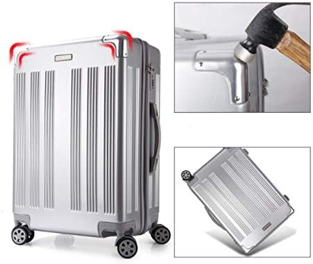 TangFei High-end PC Drawing Rod Luggage Suitcase Universal Wheel Suitcase 20 inch 22 inch 24 inch 26 inch Color : Silver, Size : S