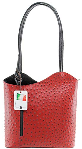 Sac En My Oh Main À Noir Rouge Cuir Bag 1ZEq6O
