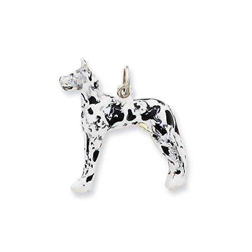 (.925 Sterling Silver Enameled Great Dane Dog Charm Pendant)
