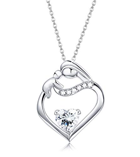 18' Sterling Chain Charm - Sllaiss 925 Sterling Silver Necklace Mother and Child Forever Love Heart CZ Pendant for Women Chain 18