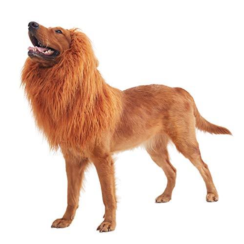 SUPRONTO INC Pet Costume Dog Lion Mane Adjustable Lion Wig Dog Costume Christmas Halloween Clothes Festival Fancy Dress up -