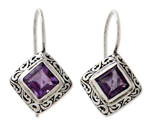 NOVICA Amethyst .925 Sterling Silver Drop Earrings Ubud Goddess