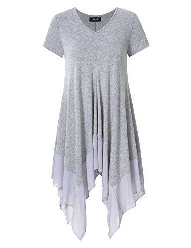 AMZ PLUS Womens Plus Size Short Sleeve Spliced Asymmetrical Tunic Top Grey XL