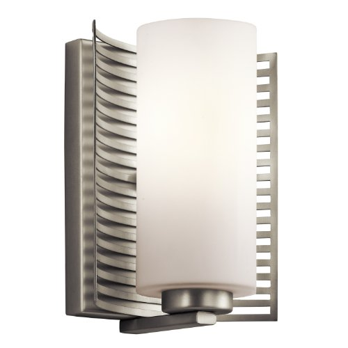 Kichler 45431NI Selene 1-Light Wall Sconce, Brushed Nickel Finish with Sanin Etched Opal - Mirror Carlo Contemporary Monte