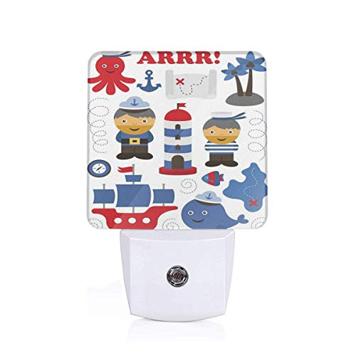 Colorful Plug in Night,Sea Theme Objects Pattern Fishes with Ship Lighthouse Sailors Octopus,Auto Sensor LED Dusk to Dawn Night Light Plug in Indoor for Childs Adults