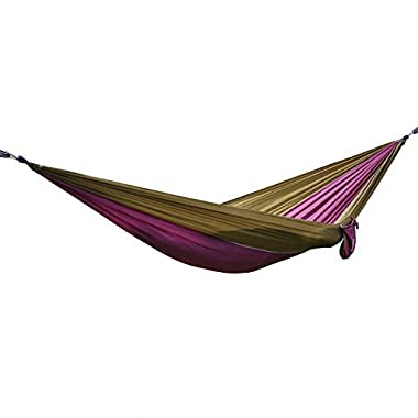 OuterEQ Portable Parachute Nylon Fabric Travel Camping Hammock For Double Two Person Brown/purple