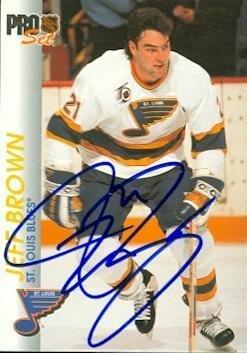 Jeff Brown Autographed Hockey Card St Louis Blues 1992 Pro Set 158
