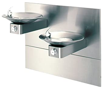 Haws 1001MS Satin Finish 18 Gauge 304 Stainless Steel Barrier-Free Wall Mounted Drinking Fountain with Sculpted Bowl and Back Panel (Mounting Frame Not Included)