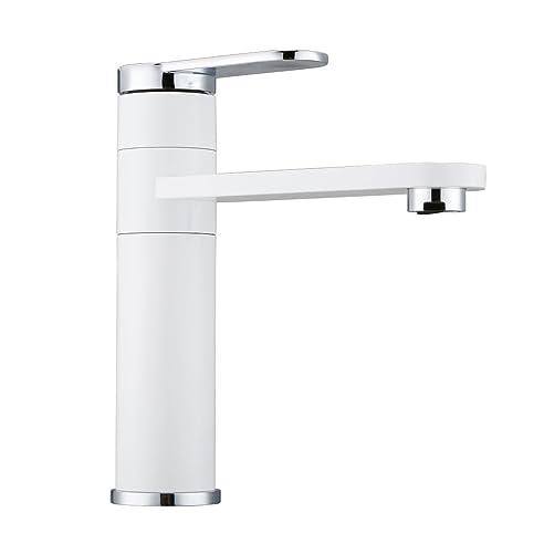 Dailyart® Weiß Design Bad Waschtisch Armatur Wasserhahn Chrom ...