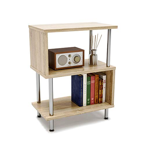 Bestier Side Table 3 Tier S-Shaped, Small Nightstand Bedside Table End Table with Storage Shelves for Bedroom, Sofa Table Coffee Table, Modern Design, Easy Assemble and Sturdy (Bedside Table With Storage)