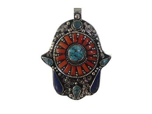 Coral-Turquoise-Lapis-Lazuli-Gemstones-Hamsa-Pendant