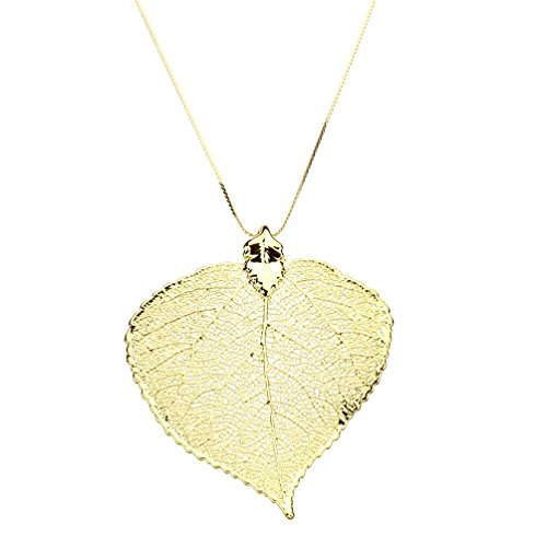 Gold-Plated Aspen Leaf Pendant 18k Gold-Flashed Sterling Silver Serpentine Chain Necklace, (Yellow Gold Serpentine Chain)