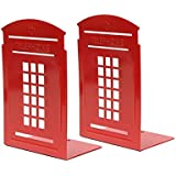 Bookends Red Pair Non-Slip Heavy Metal Durable Sturdy Strong Books Organizer Telephone Booth Bookshelf Decor Decorative Bedroom Library Office School Supplies Stationery Gift (London-Red)