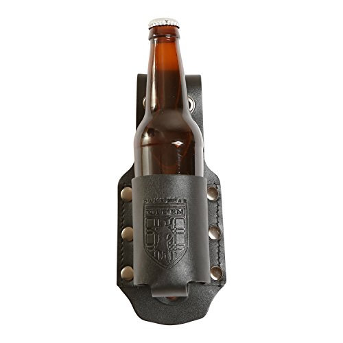 Damn Near Kilt 'Em Premium Black Leather Bottle Holder Kilt Accessory