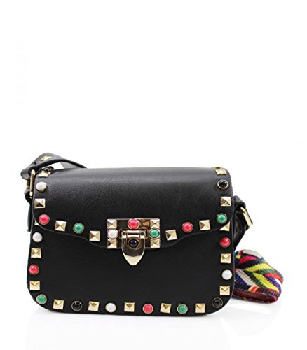 LeahWard Faux Leather Studded Cross Body Bag With Aztec multicoloured strap Small Black