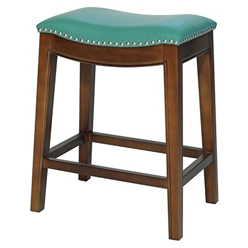 (New Pacific Direct 358625B-323 Elmo Bonded Leather Counter Bar & Counter Stools, Turquoise)