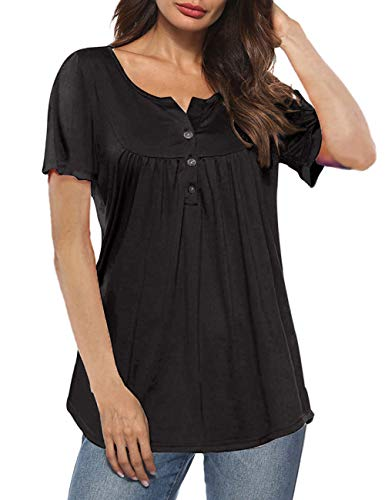 Aokosor Womens Shirts and Blouses Short Sleeve Summer Tunics Button Up T Shirt Tops