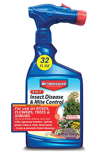 BIOADVANCED 708287 3-in-1 Insect Disease & Mite Control Spray, 32-Ounce, White