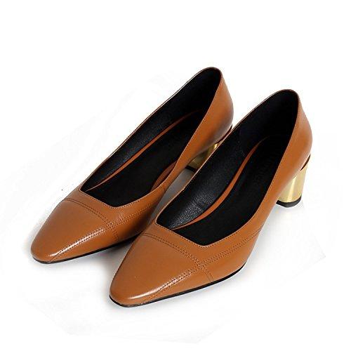 Jqdyl Tacones Zapatos para mujer Tacones gruesos Temporadas Zapatos de mujer Ginger