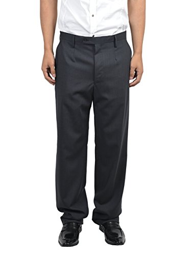 Dolce & Gabbana Men's 100% Virgin Wool Dark Gray Flat Front Dress Pants US 32 IT 48