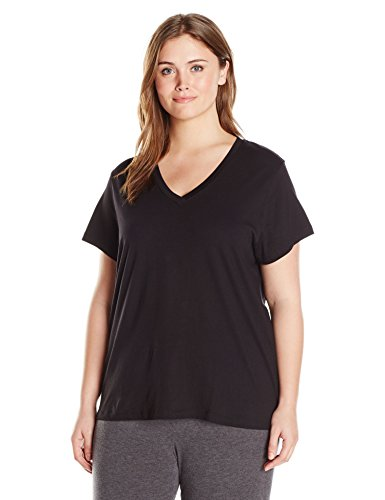 Plus Size Top Pajama (HUE Women's Plus Size Short Sleeve V-Neck Sleep Tee, Dark Black, 3X)