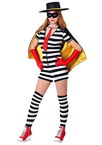Women's Burglar Costume Small Black ()