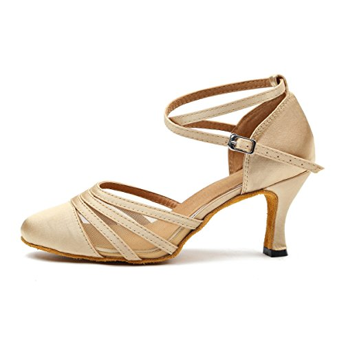 Minishion L189 Femmes Mesh Satin Latin Salsa Chaussures De Danse De Salon Champagne-7.5cm Talon
