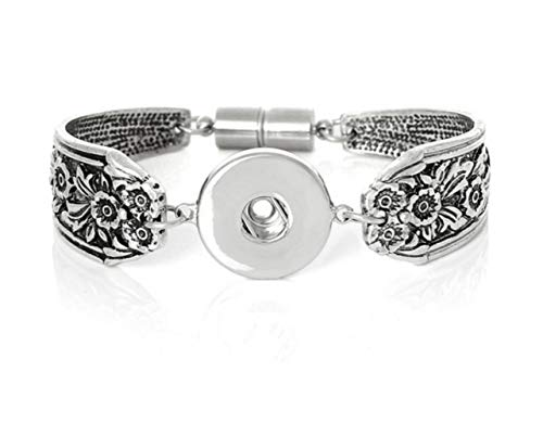 My Prime gifts Interchangeable Snap Jewelry Magnetic Bracelet Flower Spoon Size: Small to ()