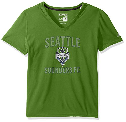 (MLS Seattle Sounders FC Adult Women Forward Arch S/Ultimate V-Neck Tee,Medium,Green)