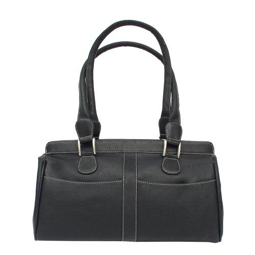 Piel Leather Double Handle Handbag, Black, One Size