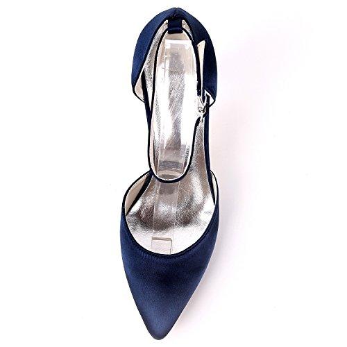 New Scarpe Donna Low Sposa Heels Bridesmaids L Silver Evening Heel Buckle Da Satin 9 5cm yc Platform Kitten CwIpqX