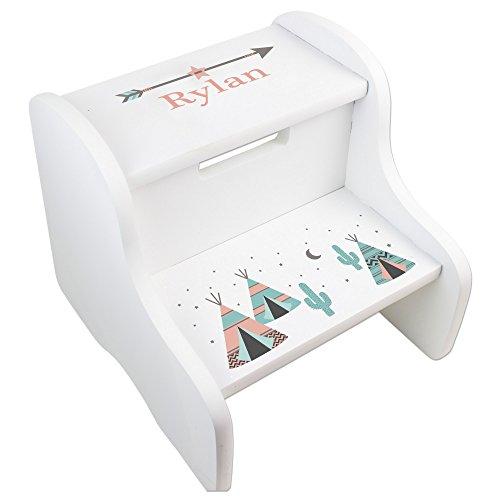MyBambino Personalized White Step Stool with Coral TeePee Design by MyBambino