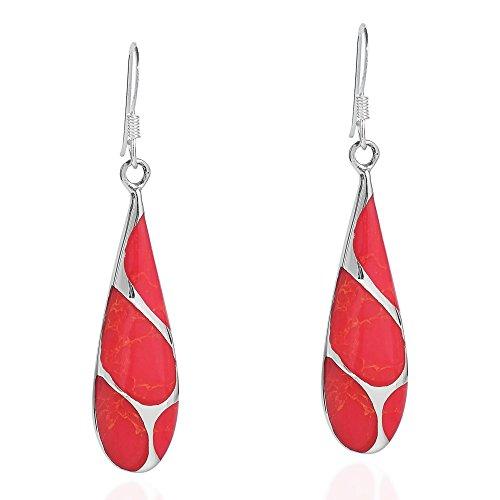 Vintage Reconstructed Red Coral Streak Teardrop .925 Sterling Silver Dangle Earrings