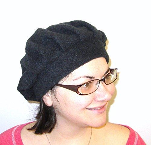 Black Fleece Beret Chemo Hat Cancer Hat