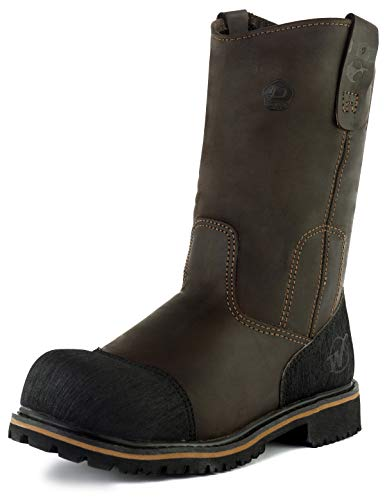 Westland Men's PW Composite Toe Waterproof Anti-Puncture Leather Nitrile Rubber Sole Wellington Work Boot (10) Coffee Brown