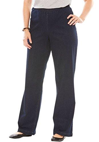 Plus Wide Leg Jeans (Women's Plus Size Tall Wide Leg Fineline Jean Indigo,24 T)