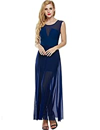 ANGVNS Women's Evening Dress Sexy Sleeveless Chiffon Party Cocktail Dress Full Gown