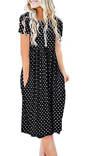ZZER Women Short Sleeve Pockets Empire Waist Pleated Loose Swing Casual Flare Midi Dress(C3036PolkBlac,L)