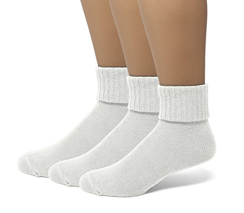 (EMEM Apparel Women's Ladies Soft Ribbed Turn Cuff Down Ankle Crow Cotton Socks Hosiery 3-Pack White 9-11)