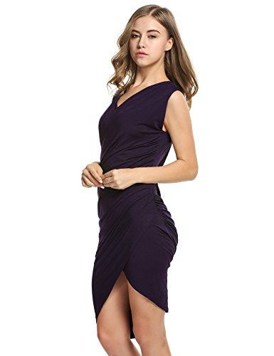 Angvns Femmes V Cou Cocktail Sans Manches Robe Plissée ¡violet