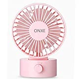 ONXE Quiet Desk Fan, Small Mini USB Table Desk Desktop Personal Fan Cooling for Room Office (2 Speed Modes Dual Blades Simulate Natural Wind, High Compatibility) -Pink
