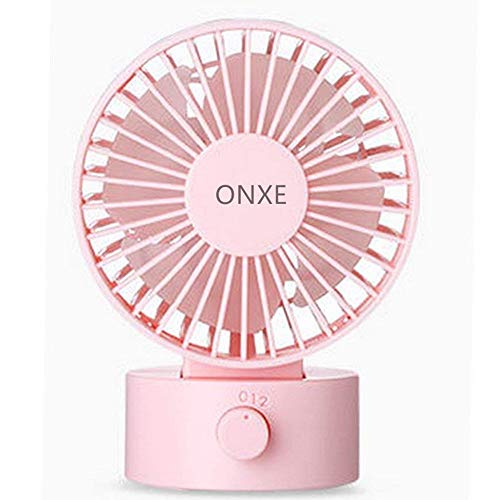 ONXE Quiet Desk Fan, Small Mini USB Table Desk Desktop Personal Fan Cooling for Room Office (2 Speed Modes Dual Blades Simulate Natural Wind, High Compatibility) -Pink by ONXE