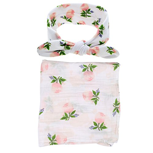 Ufraky Infant Baby Swaddle Wrap Blanket Sleeping Bag Bed Sheet Headband with Cute Pattern (Flower)